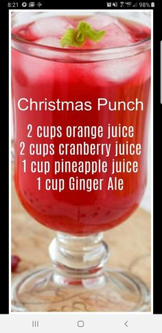 Christmas Punch ~ so simple to make and delicious! We like to serve this punch on Christmas morning. Christmas Punch ~ so simple to make and delicious! We like to serve this punch on Christmas morning. Cocktail Drinks, Fun Drinks, Yummy Drinks, Healthy Drinks, Yummy Food, Tasty, Mixed Drinks, Refreshing Drinks, Food And Drinks