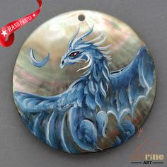HAND PAINTED FLYING DRAGON MOTHER OF PEARL SHELL NECKLACE PENDANT ZL30 06400 #ZL #PENDANT