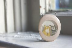 Double cat portrait necklace- hand painted personalized cat jewelry.      Do you have two cats and love them both equally? Do you love both your cats