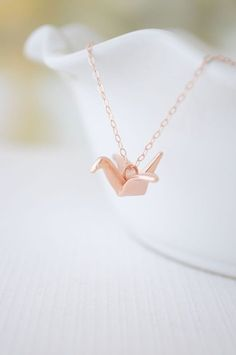 Rose gold origami crane necklace - rose gold crane - simple small jewelry - 1137 on Etsy, $47.00