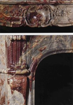 Details of the fireplace in the Salon d'Abondant in the Louvre Museum. Louis Xiv, Architectural Antiques, Architectural Elements, Fireplace Design, Fireplace Mantels, Louvre, Marble Fireplaces, Faux Painting, Statue