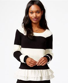 Maison Jules Striped Ruffled-Hem Sweater, Only at Macy's - Maison Jules - Women - Macy's