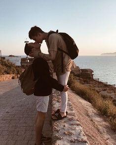 Brunette gay men kiss img