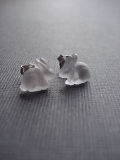 Bunny Earrings Studs Vintage Glass White White by AnechkasJewelry, $13.00