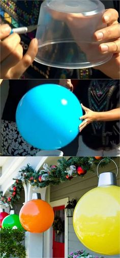 DIY Giant Christmas Ornaments! 32 beautiful Christmas porches & front doors: how to create gorgeous and playful DIY outdoor Christmas decorations such as garlands, wreaths, lights, ornaments, Christmas pots, and more! - A Piece of Rainbow