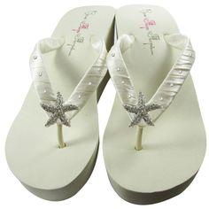 Ivory Bridal Flip Flops with Starfish & Swarovski Rhinestones, Wedding Flip Flops