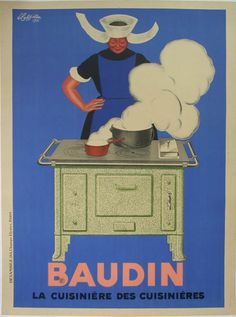 Baudin  Size:47 x 63 in / 120 x 160 cm  Description:blue, cook over stove, smoke, vintage, 47x63, d.1933