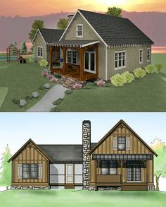 Plan Mountain, Cottage, Vacation, Photo Gallery, Narrow Lot House Plans & Home Designs (narrow screened porch decorating) D House, Cottage House Plans, Small House Plans, Maine House, Cottage Homes, House Dog, Style At Home, Cabana, Dog Trot House Plans
