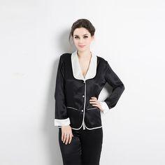 Black and White Silk Pajama Set For Women Silk Sleepwear, Silk Pajamas, White Silk, Black And White, Gorgeous Fabrics, Pajama Set, Women's Fashion, Jackets, Blanco Y Negro