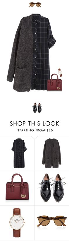 """Super casual day outfit !"" by azzra ❤ liked on Polyvore featuring H&M, Michael Kors, Jeffrey Campbell, Daniel Wellington, Ray-Ban, women's clothing, women's fashion, women, female and woman"