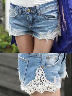 Denim Short with Lace Detail