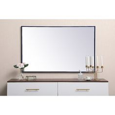Three Posts Joss & Main Essentials Accent Mirror Size: x Finish: Sliver All Modern, Modern Contemporary, Mirror With Hooks, Mirror Shapes, Black Mirror, Home Decor Outlet, Minimalist Design, Straight Lines, Furniture