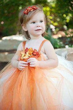 Orange Flower Girl Tutu Dress----Flower Girls, Pageants, Portraits----Many Colors. $97.00, via Etsy.