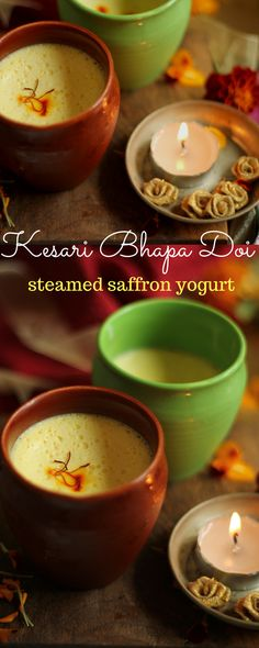 Diwali recipes - This 4 ingredient dessert from Bengal - steamed saffron yogurt / Bhapa doi, is sure to have you licking the spoon this festive season. Super easy to prepare, this dessert is a must try!