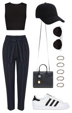 """""""Untitled #1539"""" by susannem ❤ liked on Polyvore featuring Topshop, MANGO, adidas Originals, Yves Saint Laurent, Keds, Retrò, Forever 21, women's clothing, women and female"""