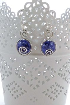 Silver Spiral Gemstone Earrings by Beau Bella Jewellery #gemstones