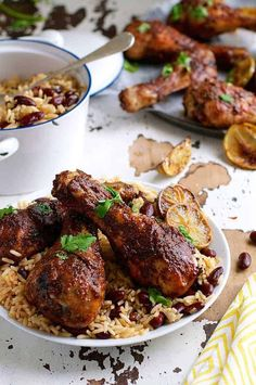 Jamaican Jerk Chicken Drumsticks and Caribbean Rice with Red Beans - the strong, spicy flavours of this chicken is the best from the Caribbean! Easy to make with everyday ingredients. (I made it quick, using rotisserie chicken. Bake Jerk Chicken Recipe, Baked Jerk Chicken, Jerk Chicken And Rice, Jamaican Chicken, Chicken Leg Recipes, Chicken Drumstick Recipes, Chicken Meal Prep, Chicken Feed, Caribbean Rice And Beans