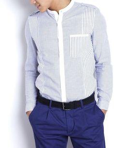 Mens Designer Shirts, Designer Suits For Men, Formal Shirts For Men, Casual Shirts, Mens Shirt Pattern, Mandarin Collar Shirt, African Men Fashion, Collar Shirts, Shirt Style