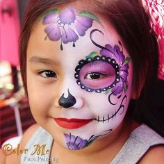 Her favorite color was purple 😍 Girl Face Painting, Face Painting Designs, Body Painting, Sugar Skull Face Paint, Sugar Skull Makeup, Sugar Skulls, Costume Makeup, Party Makeup, Halloween Makeup For Kids