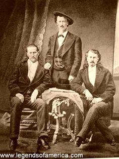 """Bill Hickok with """"Texas Jack"""" Opmohundro and Buffallo Bill Cody."""