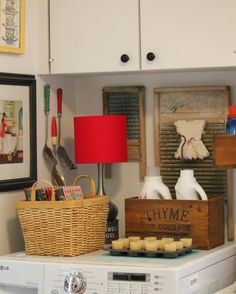 Super cute DIY laundry area with a vintage feel - from Cozy Little House