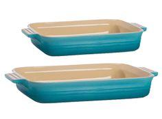 Le Creuset Teal Stoneware Rectangular Dish Twin Pack