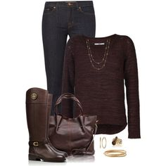 A fashion look from March 2015 featuring long sleeve pullover, rolled up jeans and knee high leather boots. Browse and shop related looks.