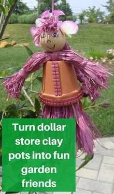 Turn Dollar Store clay pots into fun garden friends