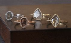 Alexis Russell — Natural Pave Diamond Slice Ring-18kt