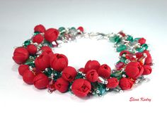 Red rose bracelet Flower cluster fancy jewelry made from polymer clay