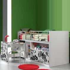 Design-Kinderhochbett Graphit in Weiß