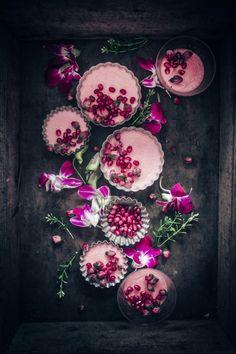 pots de créme with rose and pomegranate