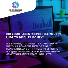 Did your parents ever tell you it's rude to discuss money? 😜✅ As a business, sometimes it's a great idea to put your pricing out there so that it's transparent, and other times it's better to price jobs individually, which means keeping money talks under wraps until later. At Flat Rate Social Media, our pricing is out there for anyone to see, so you always know what you're getting with us Choose your plan here flatratesocialmedia.com/choose-social-media-plan
