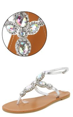 a98d16df2 Bamboo Metallic Gem Sandals SILVER - perfect for night time dining at  Sheraton Sand Key