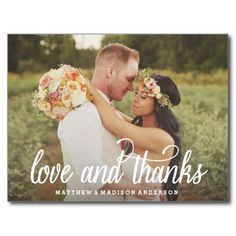 "Romantic Custom Picture Photo ""Love & Thanks"" Wedding Thank You Postcard  Love this beautiful thank you card and so affordable at only $1 each!!  #wedding #postcard #thankyou #romantic #photo"