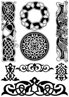 Celtic vector art-collection on a white background. by tanik, via ShutterStock Symbol Tattoos, Celtic Tattoos, Celtic Tribal, Celtic Art, Viking Designs, Celtic Designs, Motifs Islamiques, Celtic Symbols, Celtic Knots