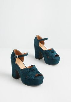 Women's Shoes- Cute Retro & Modern Styles- Sandals | ModCloth Metallic Heels, Suede Heels, Blue Heels, High Heels, Modcloth Shoes, Mode Chic, Unique Shoes, Leather Clogs, Comfortable Sandals