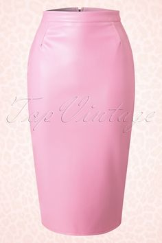 Pinup Couture 50s Deadly Dames Curves Skirt in Pink Faux Leather
