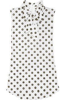 Tops : Moschino Polka-dot silk-crepe blouse