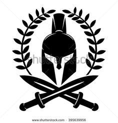 Vector sign. Spartan helmet. - stock vector