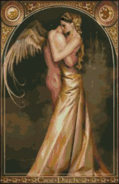 Angel Of Love - Counted Needle Point and Cross Stitch Chart Patterns.