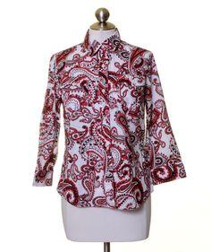 Jones New York White Black Red Paisley Cotton Button Down Shirt Size S #JonesNewYork #ButtonDownShirt #Casual