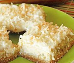 Ingredients: 2 cups flour 1 cup sugar 1 cup butter 16 ounces cream cheese 4 TBS sugar 4 TBS milk 2 eggs 2 tsp vanilla 16 ounces crushed pineapple, drained 2 cups flaked coconut 2 TBS melted butter Directions: 1 – Combine flour, 1 cup sugar and 1 Lime Cheesecake, Cheesecake Recipes, Coconut Cheesecake, Coconut Bars, Pineapple Cheesecake, Coconut Cream, Cheesecake Squares, Cheesecake Recipe 16 Oz Cream Cheese, Coconut Slice