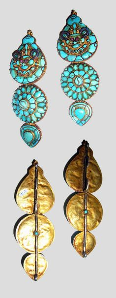 Tibet | Pair of gold and turquoise earrings | POR another set of newly made fake earrings LP