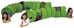 SEE-ME NEON TUNNEL . $59.70. Flame retardant 70 Denier nylon, meets CPAI-84 specifications. Two nylon mesh windows. Nylon end flaps connect second and third tunnels securely. Sturdy spring steel construction for long lasting fun. 6' long x 19dia. Collapses for storage. Vibrant neon green with purple trim.