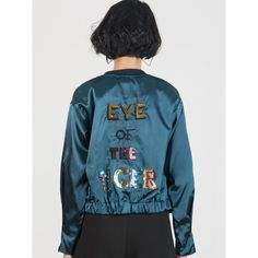 Peacock Green Sequined Letter Embroidery Back Bomber Jacket ($46) ❤ liked on Polyvore featuring outerwear, jackets, bomber style jacket, blue bomber jackets, embroidered bomber jackets, letter jacket and blue sequin jacket
