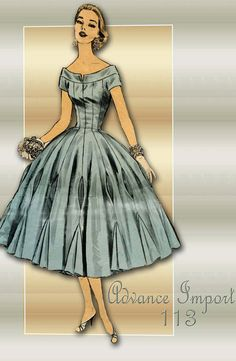 Advance Import 113 --A 1950s special occasion dress with awesome skirt detail. Bottom hem of dress measures 13 yards.