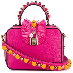 Dolce & Gabbana Small Embellished Shoulder Bag ($3,210) ❤ liked on Polyvore featuring bags, handbags, shoulder bags, leather shoulder bag, pink purse, leather purses, shoulder strap purses and genuine leather handbags