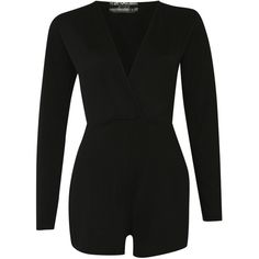 Pilot Long Sleeve Wrap Front Playsuit ($23) ❤ liked on Polyvore featuring jumpsuits, rompers, black, shorts, playsuit romper, party rompers, long-sleeve rompers, long-sleeve romper and long sleeve romper