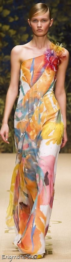 Love the fabric - could be hand painted silk! Laura Biagiotti Spring Summer 2014 Ready-To-Wear jaglady